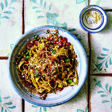 SYRIAN SPAGHETTI WITH POMEGRANATE & LENTILS