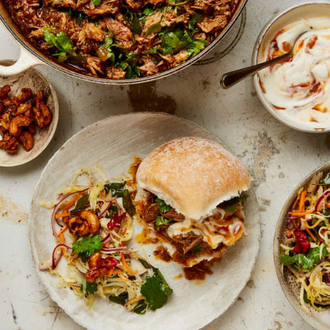 Ottolenghi's pulled pork vindaloo buns using cinnamon sticks, cardamom pods, black peppercorns, cumin seeds, black mustard seeds