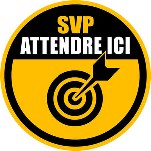 Pictogramme Covid-19 SVP Attendre ici