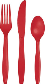 Classic Red Plastic Cutlery