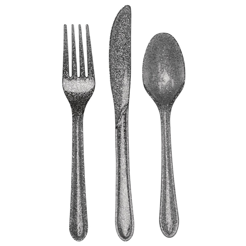 Shimmering Silvery Cutlery Assorted Glitter Silver (8 spoons, 8 forks and 8 knives)