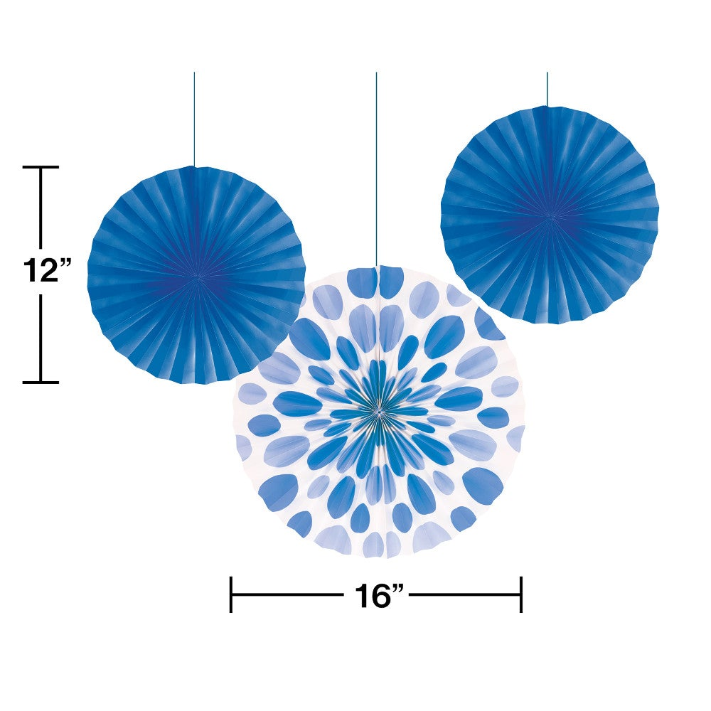 "True Blue Paper Fan 12"" & 16"""