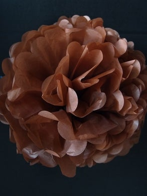 "12"" Brown Tissue Paper  Pom Pom"