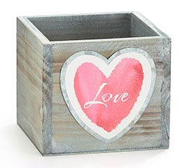 "Planter 4"" Wood Square Word ""Love"""