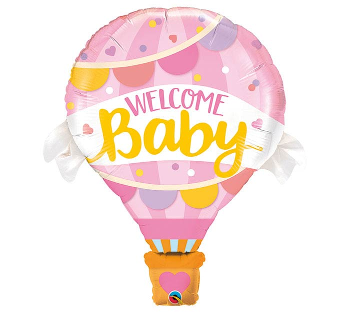 "42"" Welcome Baby Hot Air Balloon Girl"