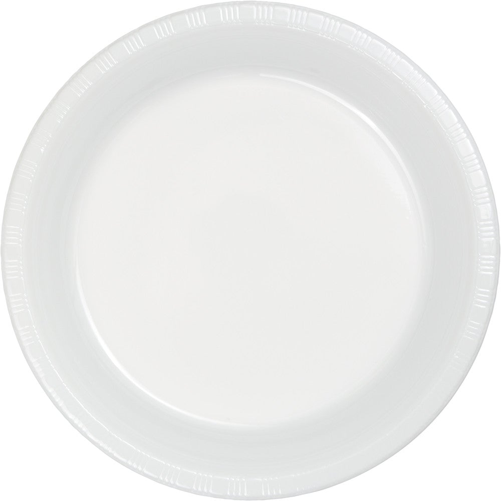 "White 7"" Plastic Lunch Plates"