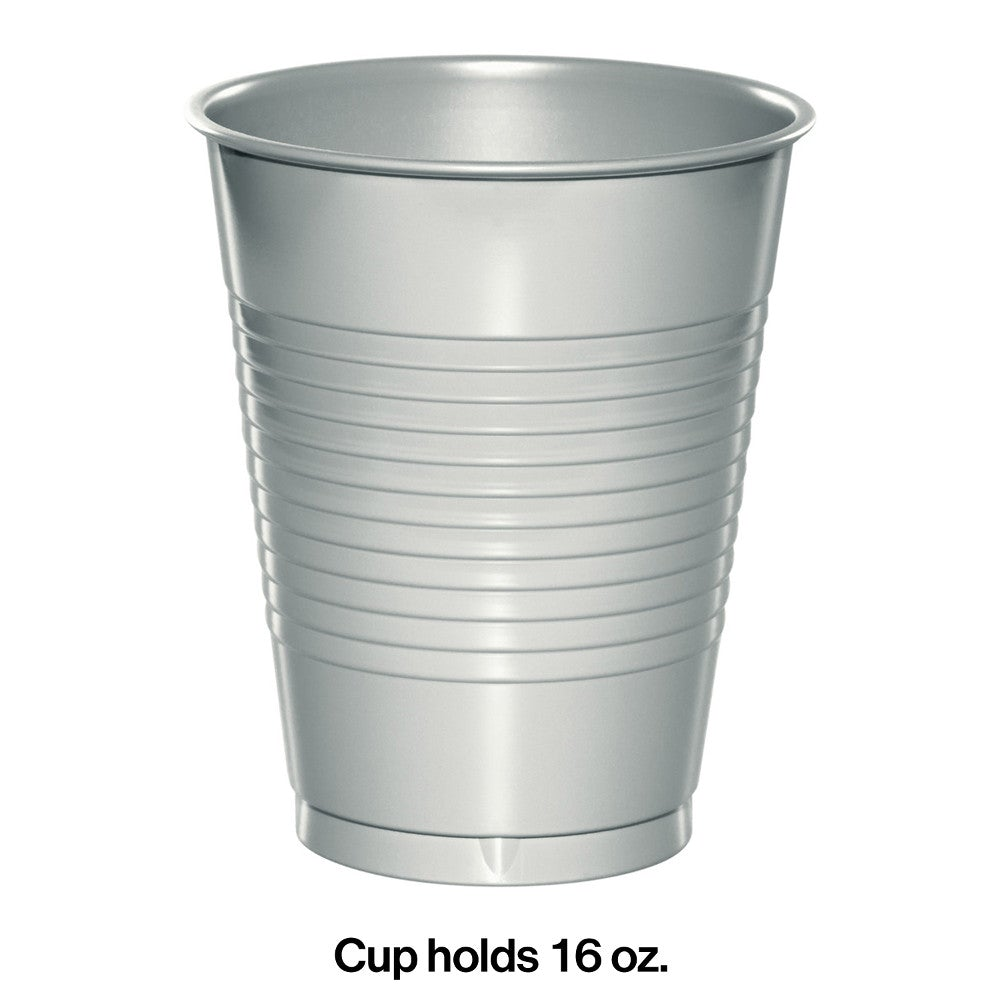Shimmering Silver 16 oz Plastic Cups
