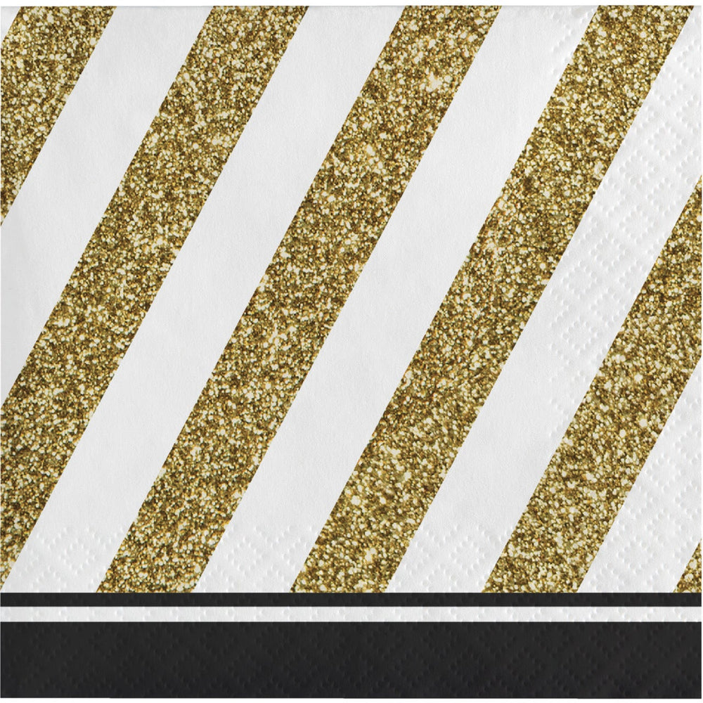 Black & Gold Beverage Napkins