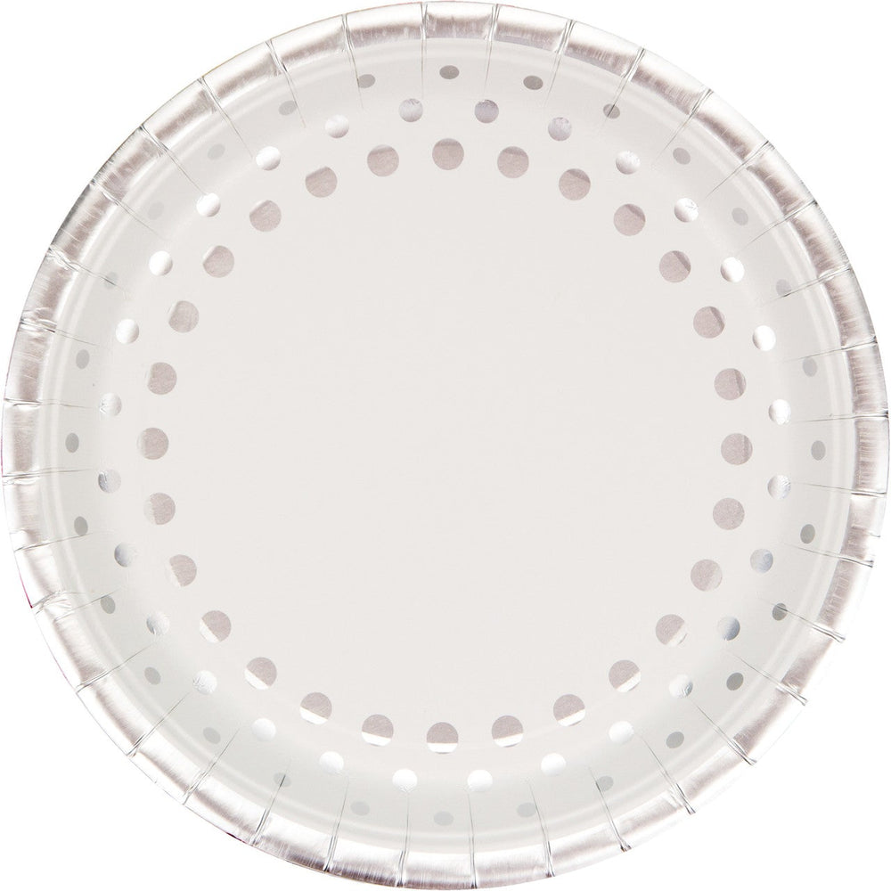 "Sparkle and Shine Silver Dinner Plate  9"" Diameter (8 counts)"