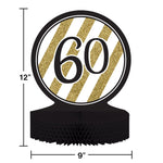 Black And Gold 60Th Birthday Centerpiece