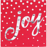 Foil Stamped Holiday Joy Red Cocktail Napkins