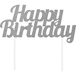 Silver Happy Bday Cake Topper