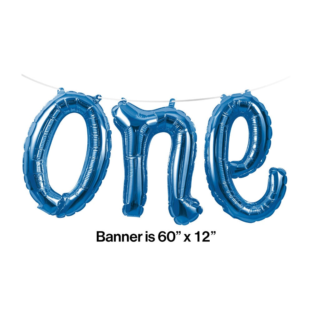 "Balloon Banner Blue ""one"""