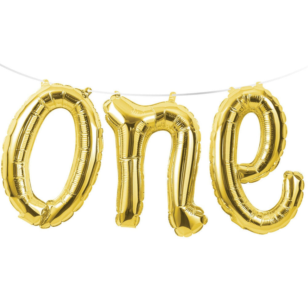 "Balloon Banner Gold Word ""One"""