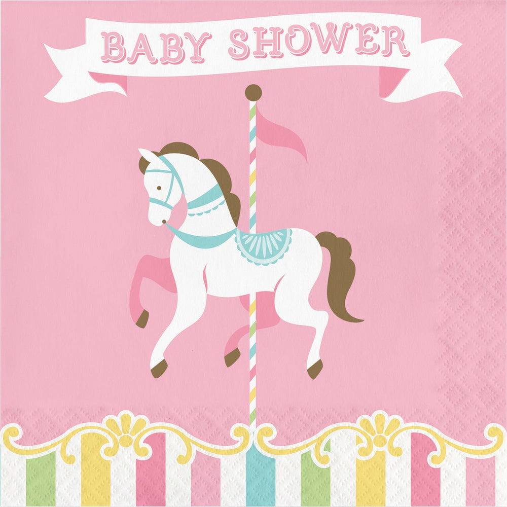 "Carousel Luncheon Napkins ""Baby Shower"""