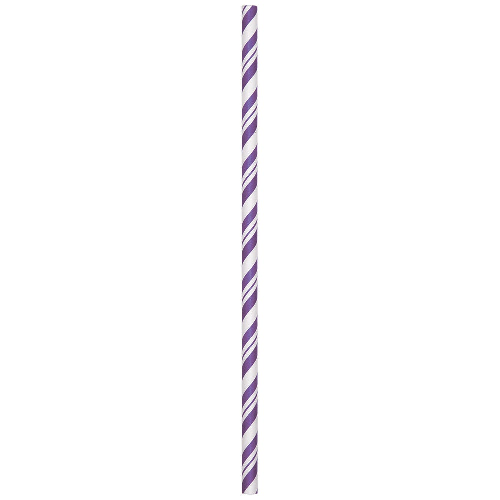 Amethyst Purple Striped Paper Straws
