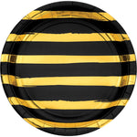 Black and Gold Foil Striped Paper Plates