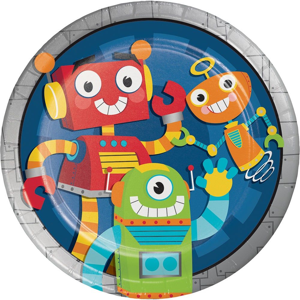 "Party Robot 9"" Dinner Plates (8 counts)"