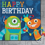 Party Robot Happy Birthday Lunch Napkins