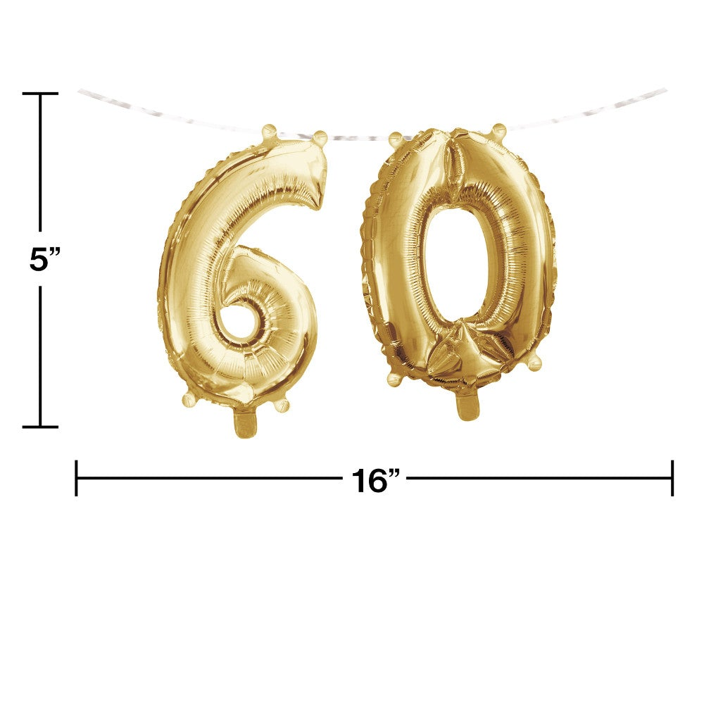 "16"" Banner Balloon Gold ""60"" Air-Filled"