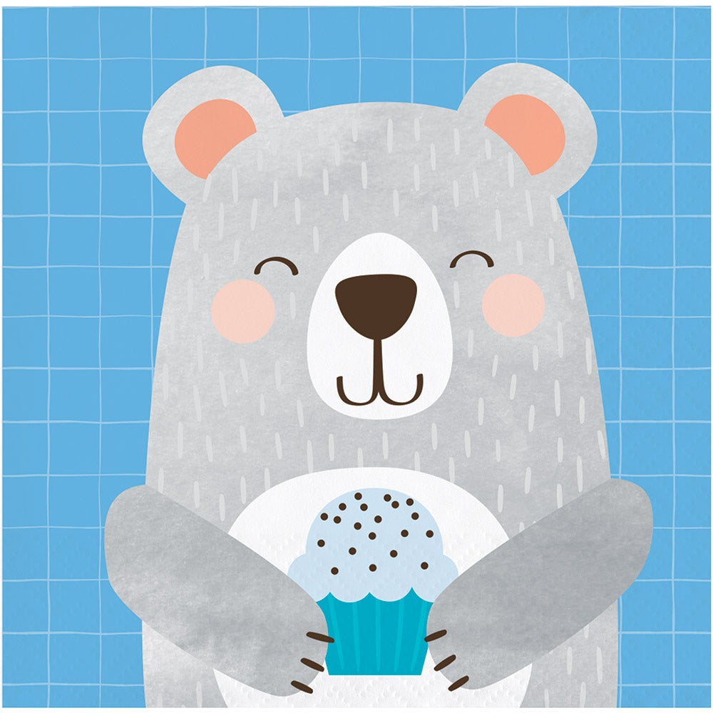 1st Birthday Bear Beverage Napkins Bear