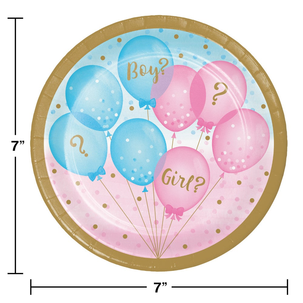 "Gender Reveal B 7"" Lunch Plates"