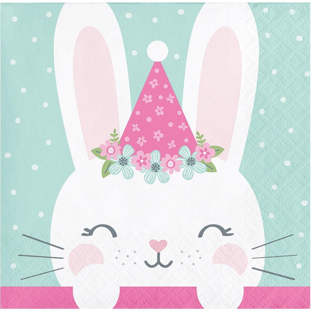 1st Year Bunny Beverage  Napkins  Bunny with Hat