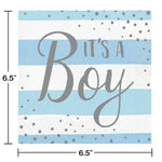Blue Silver Celebration Luncheon Napkin, It's A Boy
