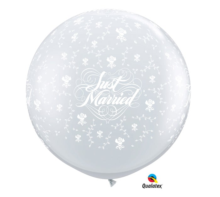 3 Just Married with Flowers Balloon
