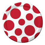 "7"" Luncheon  Plates Polka Classic Red"