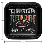 Retirement Chalk Dessert Plates
