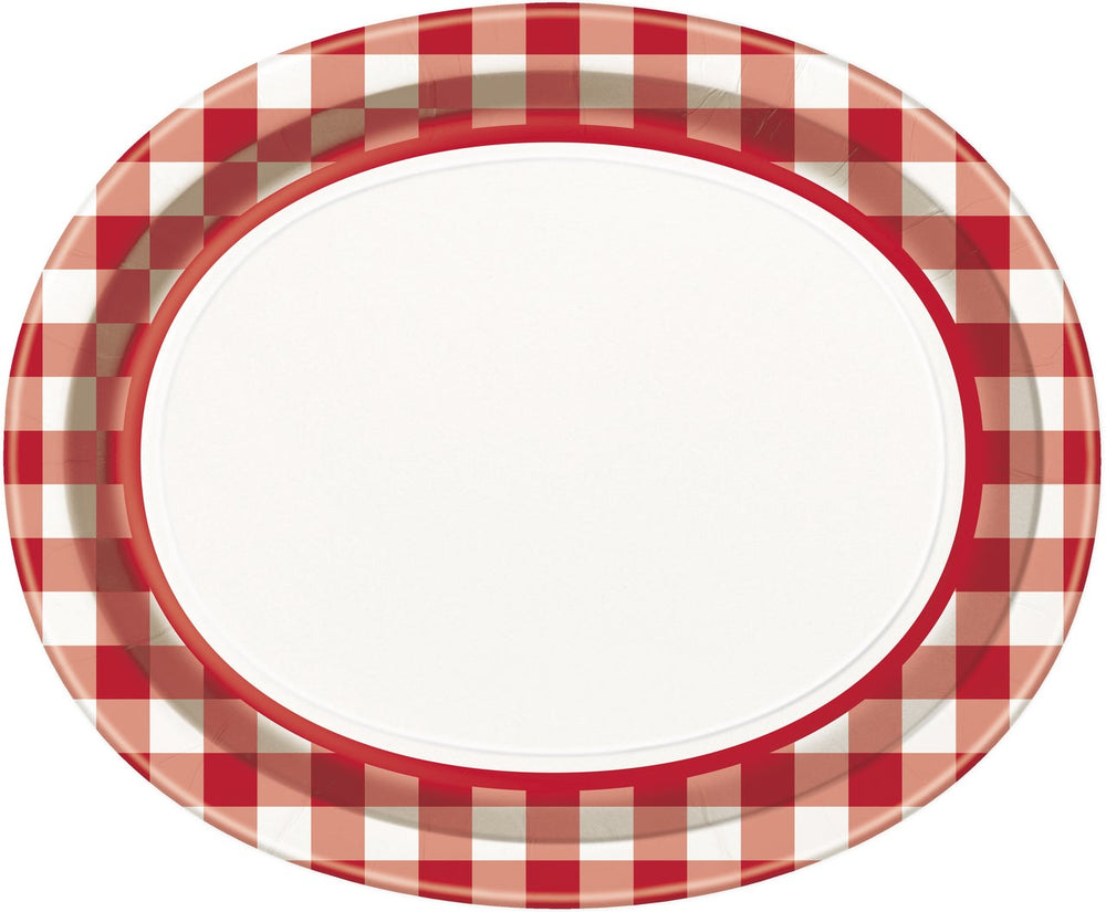 Backyard Bbq Oval Plates Checke