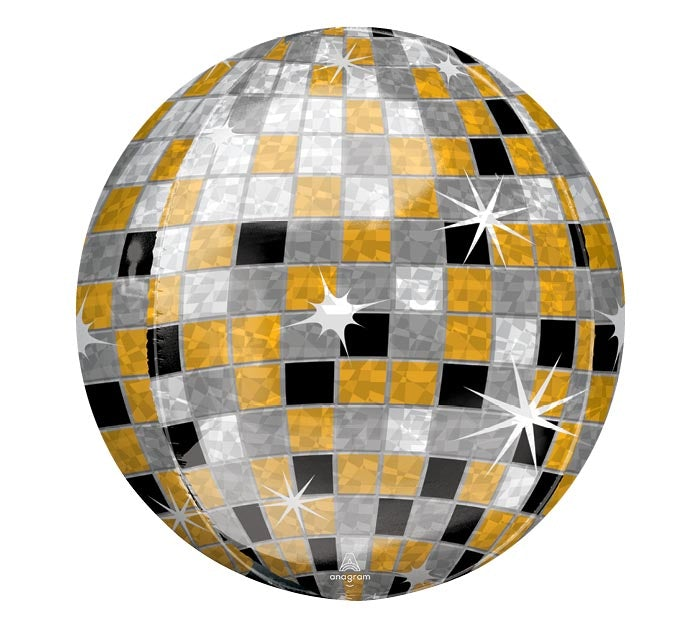 "15"" Disco Gold-Silver-Orbz Round Balloon"