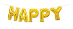 "14"" Gold Happy Birthday Metallic Balloon Banner"