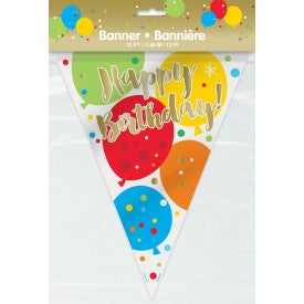 Glitz Gold Birthday Plastic Flag Banner 12 feet