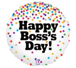 "18"" Boss's Day Confetti Glitter Holographic Balloon"