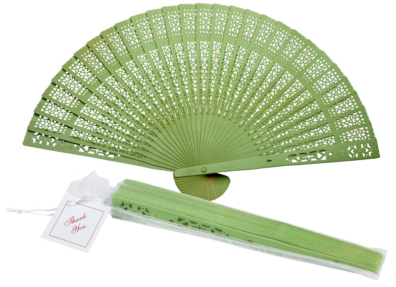 "8"" Grass Greenery Wood Panel Fan with Organza Bag and  Thank You Tag"
