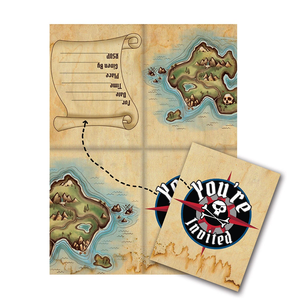Pirates Map Invitation Cards (