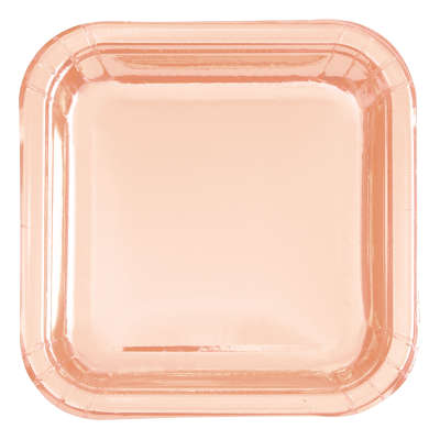 "9"" Foil Rose Gold Square Dinner Plates"