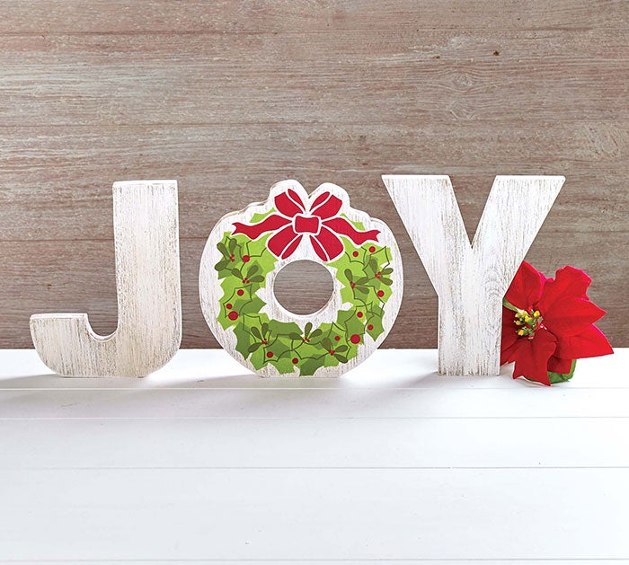 "Decor Handmade Holiday ""JOY"" shelf Sitter"