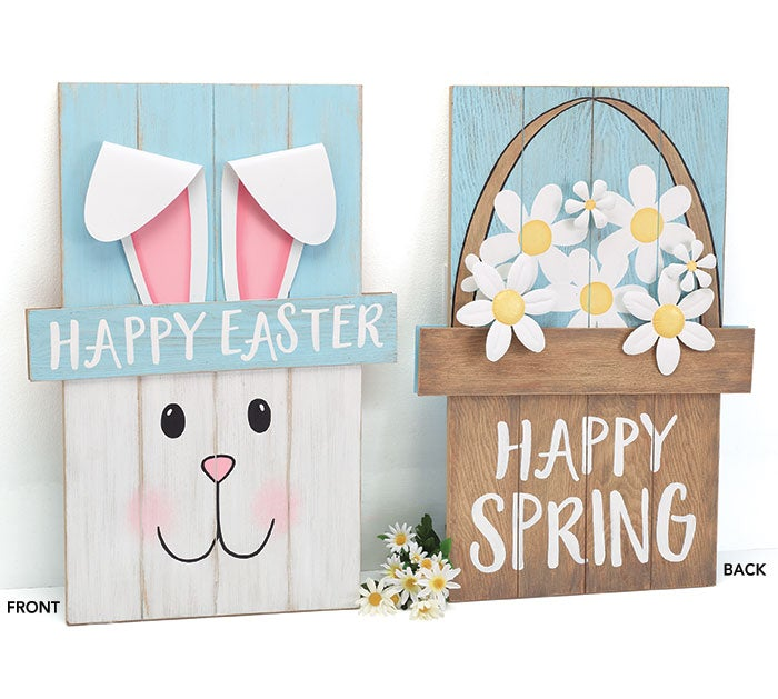 Burton & Burton Reversible Easter with Spring Wood Sign