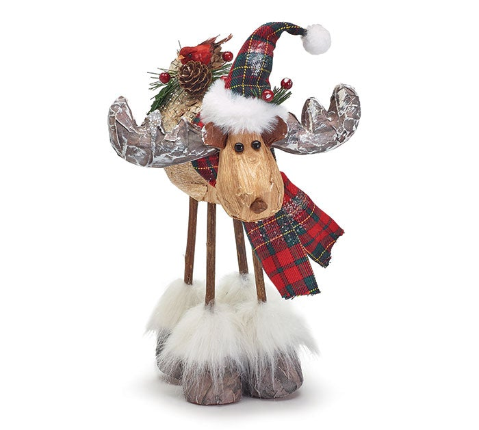 "9"" Decor Moose With Plaid"