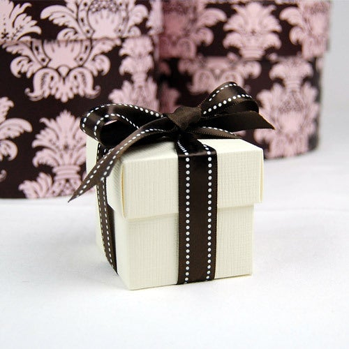 Ivory with Brown Ribbon Favor Box (25 boxes)