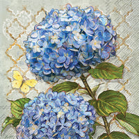 Blue Heirloom Flowers Lunch Napkins