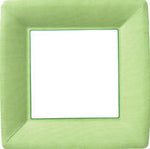 Green & White Square Dinner Plates