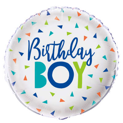 Confetti Birthday Boy Round Foil Balloon