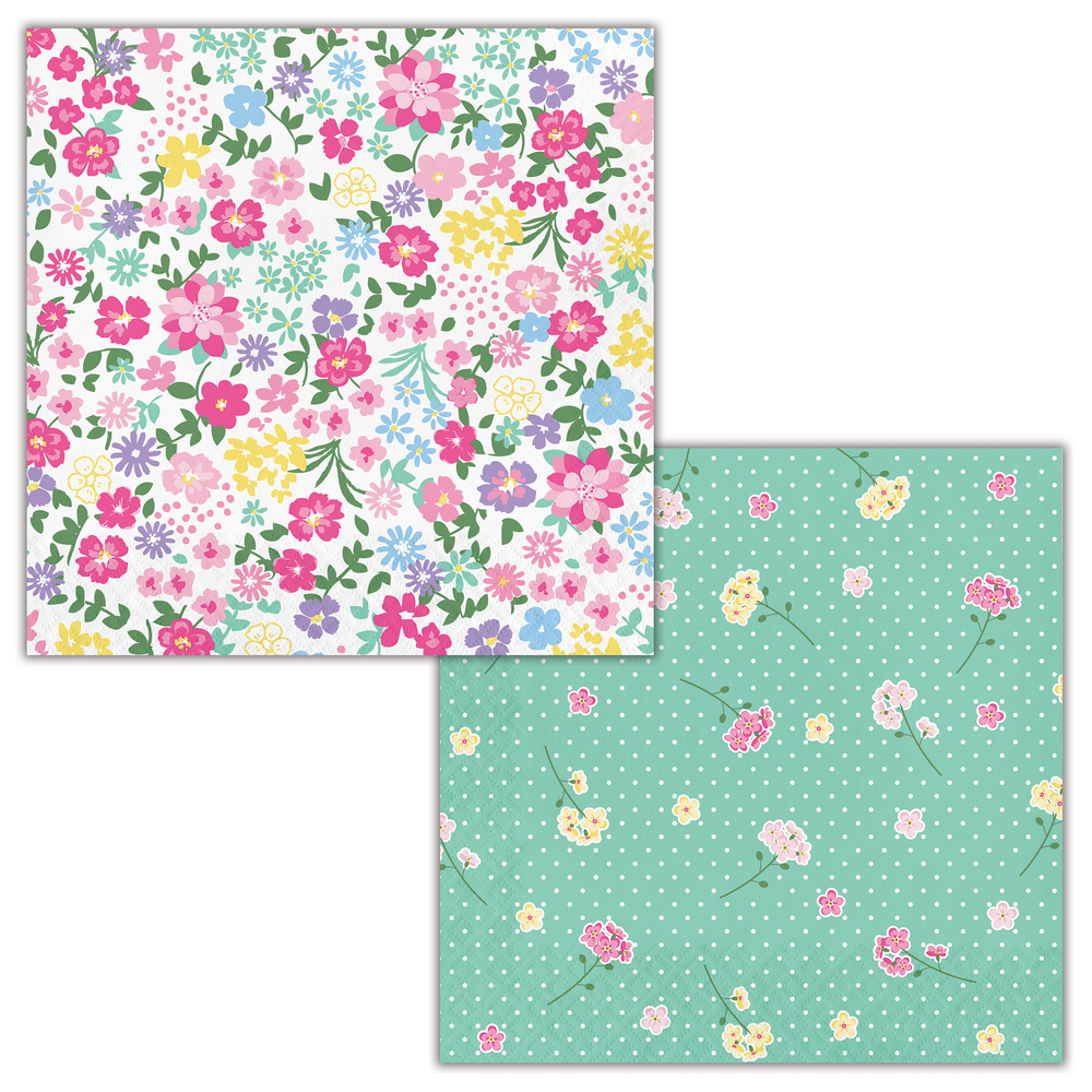 Floral Tea Party Luncheon Napkin, 2 Sided
