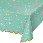 "Floral Tea Party Plastic Tablecover All Over Print, 54"" X 102"""
