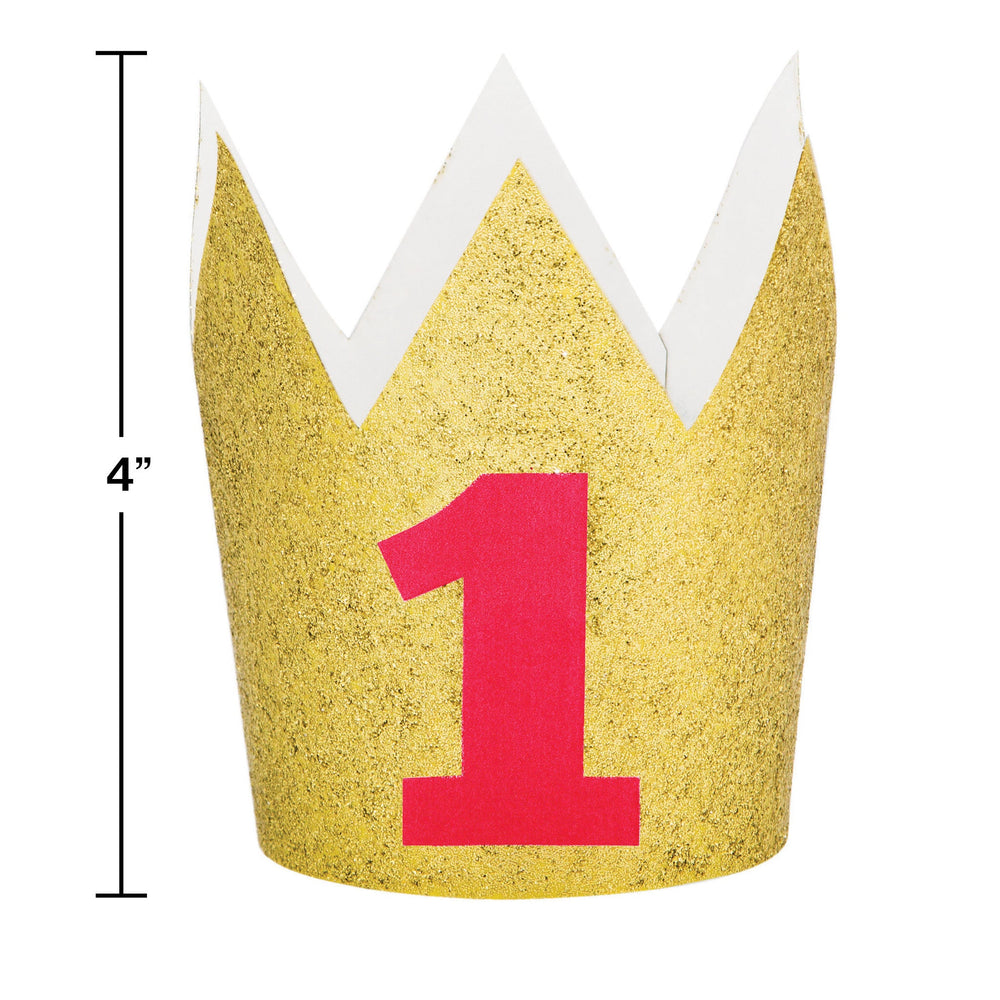 "Crown Glitter Gold Number ""1"" Red"