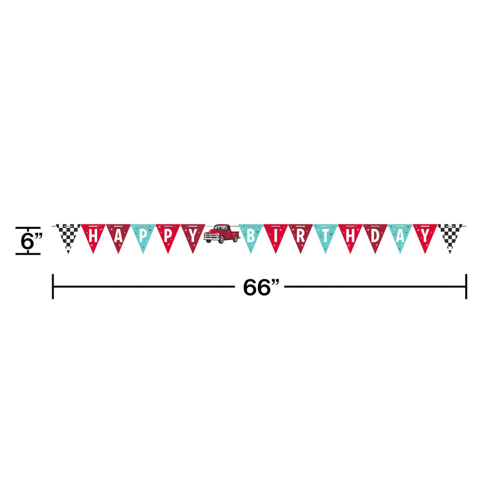 Vintage Red Truck Banner Shaped Ribbon